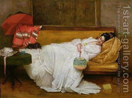 Girl in a white dress resting on a sofa by Alfred-Emile-Leopole Stevens - Reproduction Oil Painting