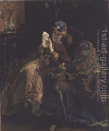Reading the Letter by Alfred-Emile-Leopole Stevens - Reproduction Oil Painting