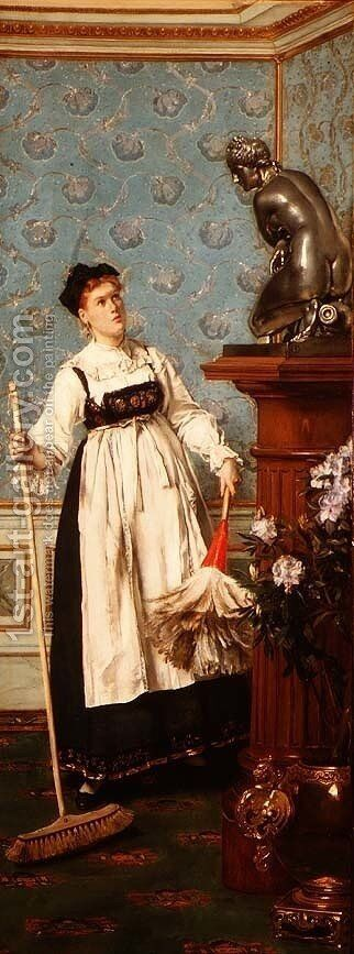 An Aspiring Connoisseur by Alfred-Emile-Leopole Stevens - Reproduction Oil Painting