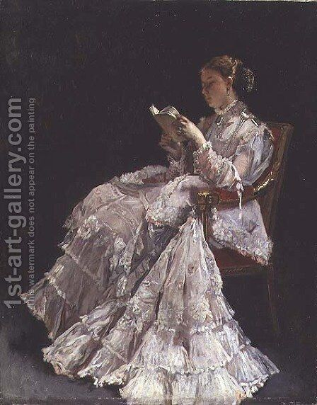 The Reader, c.1860 by Alfred-Emile-Leopole Stevens - Reproduction Oil Painting