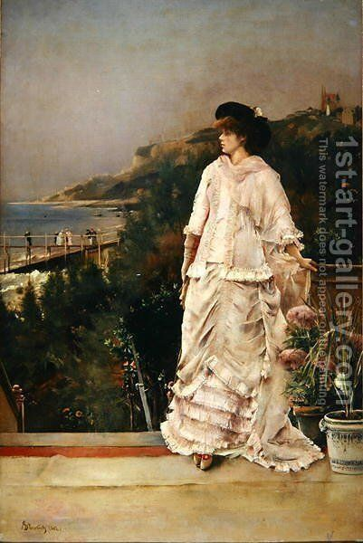 Woman on a Terrace, 1882 by Alfred-Emile-Leopole Stevens - Reproduction Oil Painting