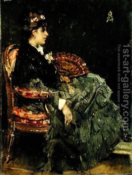 Seated Lady with a Fan by Alfred-Emile-Leopole Stevens - Reproduction Oil Painting