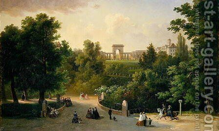 View from the Karlsaue Gardens to the Friedrichsplatz, 1865 by Eduard Stiegel - Reproduction Oil Painting