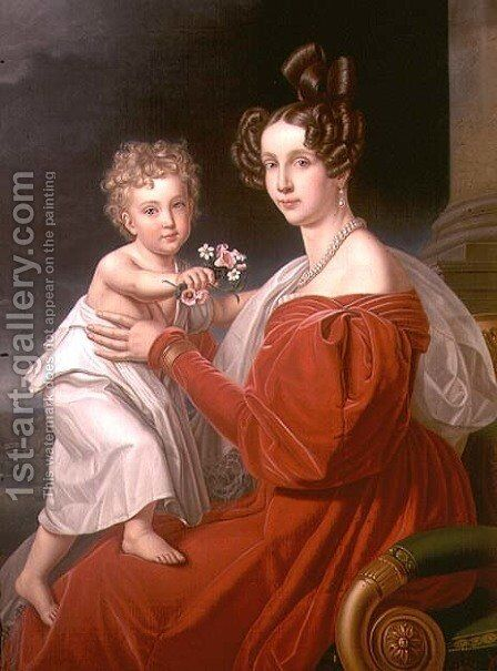 Archduchess Sophia of Austria 1805-72 with her two year old son Franz Joseph 1830-1916 later Emperor Francis Joseph I of Austria by J. K. Stiegler - Reproduction Oil Painting