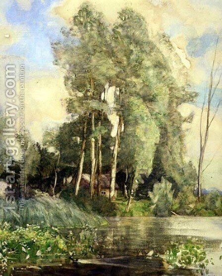 A Cottage on a Riverbank by Adrian Scott Stokes - Reproduction Oil Painting