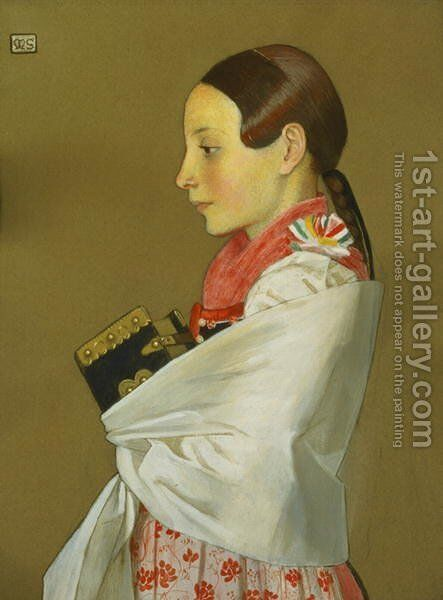Young Girl of Menguszfalva going to Church, c.1905-07 by Marianne Preindelsberger Stokes - Reproduction Oil Painting