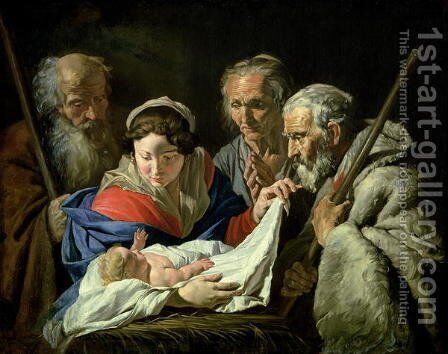 Adoration of the Infant Jesus by Matthias Stomer - Reproduction Oil Painting