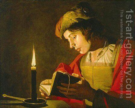 Young Man Reading by Candle Light by Matthias Stomer - Reproduction Oil Painting