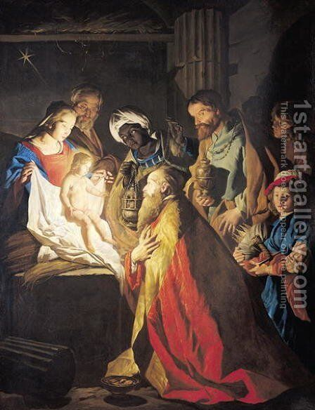The Adoration of the Magi by Matthias Stomer - Reproduction Oil Painting