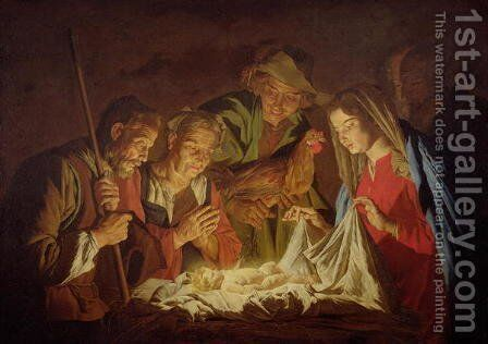Adoration of the Shepherds by Matthias Stomer - Reproduction Oil Painting