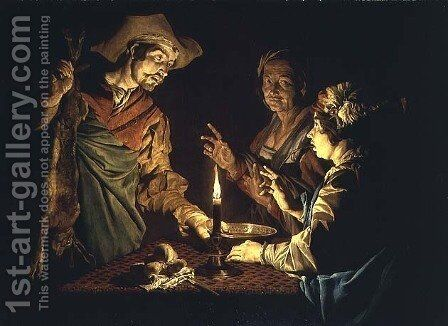 Esau and Jacob, 1640s by Matthias Stomer - Reproduction Oil Painting
