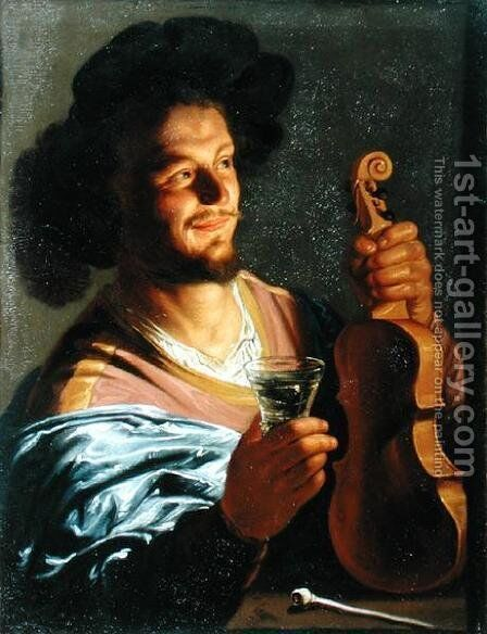 Man with a Fiddle and Glass in Hand by Matthias Stomer - Reproduction Oil Painting