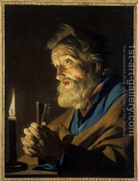 The Penitant Peter by Matthias Stomer - Reproduction Oil Painting