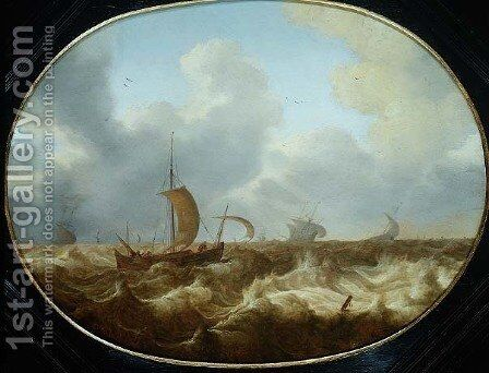 Fishing boats and other vessels in a stormy sea by Cornelis Stooter - Reproduction Oil Painting
