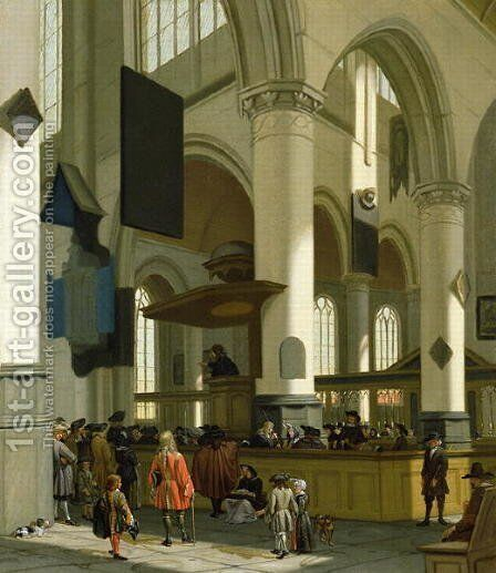 Interior of the Oude Kerk, Delft, with a preacher by A. and Streeck, H. van Storck - Reproduction Oil Painting