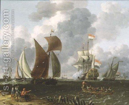 A Battle Offshore by Abraham Storck - Reproduction Oil Painting