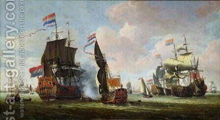 The Arrival of Michiel Adriaanszoon de Ruyter 1607-76 in Amsterdam by Abraham Storck - Reproduction Oil Painting