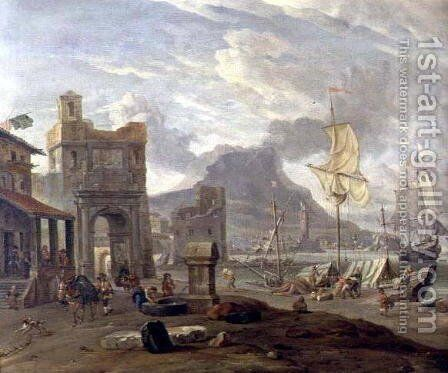 Sea Port with Large and Small Ships by Abraham Storck - Reproduction Oil Painting