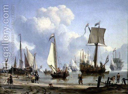 Ships in Calm Water with Figures by the Shore by Abraham Storck - Reproduction Oil Painting