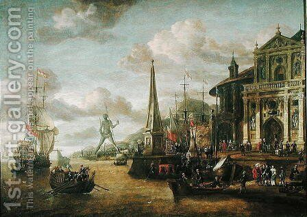 The Port of Rhodes by Abraham Storck - Reproduction Oil Painting