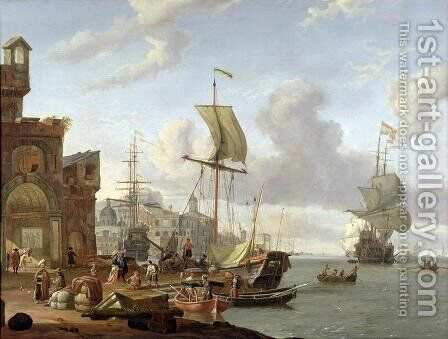 A capriccio Mediterranean harbour scene, 1678 by Abraham Storck - Reproduction Oil Painting