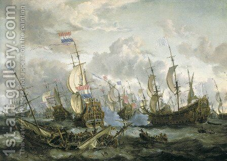 The Four Days Battle, 1-4 June 1666 by Abraham Storck - Reproduction Oil Painting