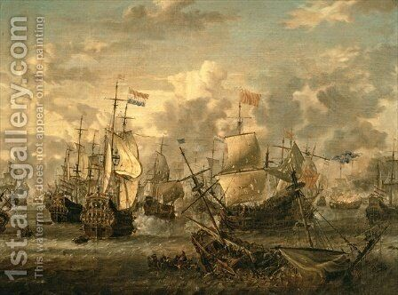 Episode of the Four Days Battle, 1st-4th June 1666 by Abraham Storck - Reproduction Oil Painting
