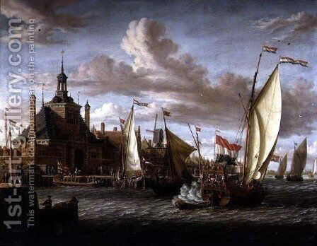 A Zeeland States Yacht Firing a Salute off the Dude Hoofdpoort, Rotterdam by Jacobus Storck - Reproduction Oil Painting