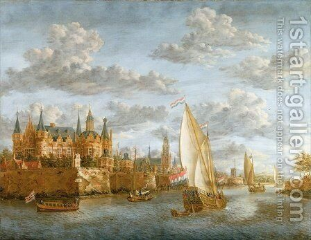 Castle on a River in Holland, c.1660-88 by Jacobus Storck - Reproduction Oil Painting
