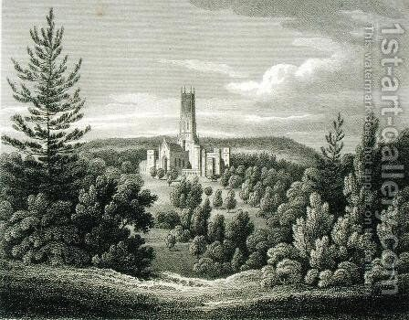Fonthill Abbey from the Beacon, 1812 by James Storer - Reproduction Oil Painting