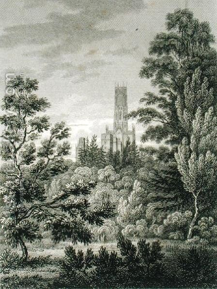 Fonthill Abbey from the American Plantation, published by W. Clarke, New Bond Street, 1812 by James Storer - Reproduction Oil Painting