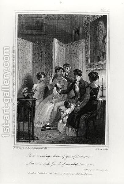 Family Scene - Evening in the Drawing Room, from 'The Social Day' by Peter Coxe, engraved by J. Scott, published 1822 by (after) Stothard, T. and Stephanoff, J. - Reproduction Oil Painting