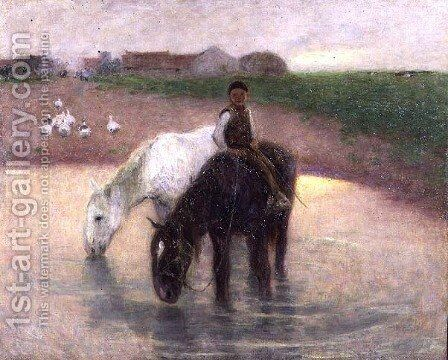 The Horse Pond, c.1890 by Edward Stott - Reproduction Oil Painting