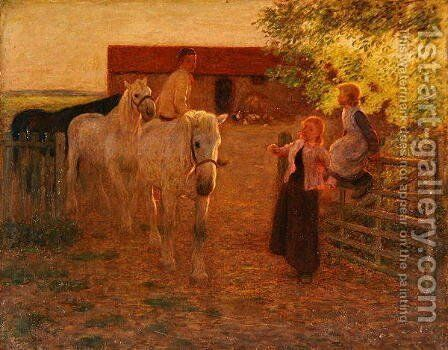 The Old Gate, c.1896 by Edward Stott - Reproduction Oil Painting