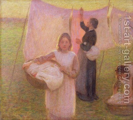 The Washing Day by Edward Stott - Reproduction Oil Painting