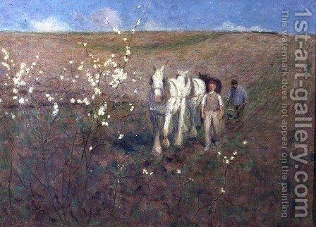 Ploughing, Early Spring by Edward Stott - Reproduction Oil Painting