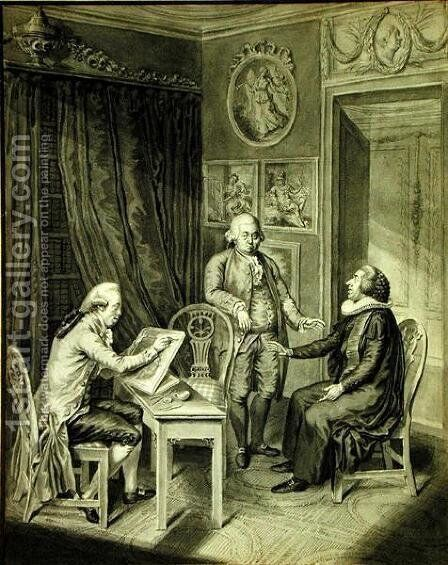 Christian Andreas Georg Stottrupp 1789-1835, Pastor Sturm and Philipp Emanuel Bach 1714-88 by Christian Andreas Georg Stottrupp - Reproduction Oil Painting
