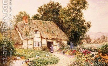 A Cottage by a Duck Pond by Arthur Claude Strachan - Reproduction Oil Painting
