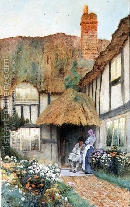 By the Cottage Door by Arthur Claude Strachan - Reproduction Oil Painting