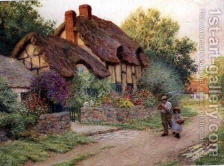 After the Shower Man with a Scythe by Arthur Claude Strachan - Reproduction Oil Painting