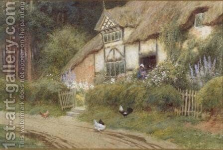 A Young Girl and Chickens by a Cottage by Arthur Claude Strachan - Reproduction Oil Painting