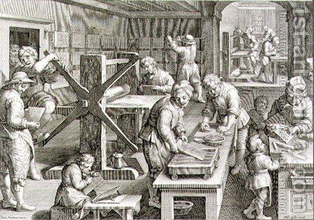 The Invention of Copper Engraving, plate 20 from Nova Reperta New Discoveries engraved by Philip Galle 1537-1612 c.1600 by (after) Straet, Jan van der (Giovanni Stradano) - Reproduction Oil Painting
