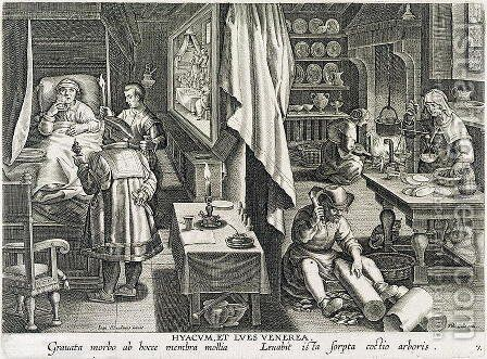 The House of a Man Stricken with Venereal Disease, engraved by Philip Galle 1537-1612 by (after) Straet, Jan van der (Giovanni Stradano) - Reproduction Oil Painting