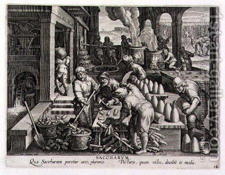 A Sugar Mill and the Production of Sugar Loaves, plate 14 from Nova Reperta New Discoveries engraved by Philip Galle 1537-1612 c.1600 by (after) Straet, Jan van der (Giovanni Stradano) - Reproduction Oil Painting