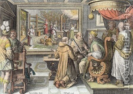 The Beginning of the Silk Industry in Europe, plate 9 from Nova Reperta New Discoveries engraved by Philip Galle 1537-1612 c.1600 2 by (after) Straet, Jan van der (Giovanni Stradano) - Reproduction Oil Painting
