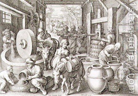 The Production of Olive Oil, plate 13 from Nova Reperta New Discoveries engraved by Philip Galle 1537-1612 c.1600 2 by (after) Straet, Jan van der (Giovanni Stradano) - Reproduction Oil Painting