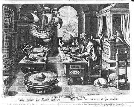 Flavio Gioia of Amalfi discovering the Power of the Lodestone, plate 3 from Nova Reperta New Discoveries engraved by Philip Galle 1537-1612 c.1600 by (after) Straet, Jan van der (Giovanni Stradano) - Reproduction Oil Painting