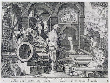 The Invention of Gunpowder and the First Casting of Bronze Cannon, plate 4 from Nova Reperta New Discoveries engraved by Philip Galle 1537-1612 c.1600 by (after) Straet, Jan van der (Giovanni Stradano) - Reproduction Oil Painting