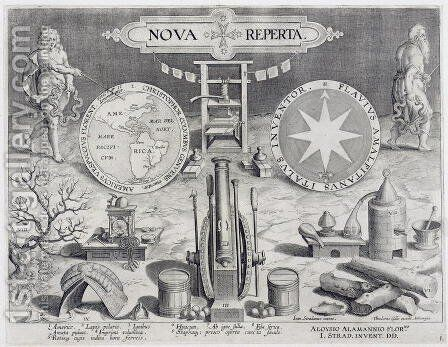 Frontispiece to Nova Reperta New Discoveries engraved by Theodor Galle 1571-1633 c.1600 2 by (after) Straet, Jan van der (Giovanni Stradano) - Reproduction Oil Painting