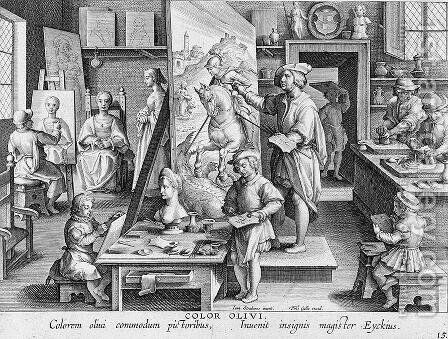 The Invention of Oil Paint, plate 15 from Nova Reperta New Discoveries engraved by Philip Galle 1537-1612 c.1600 by (after) Straet, Jan van der (Giovanni Stradano) - Reproduction Oil Painting